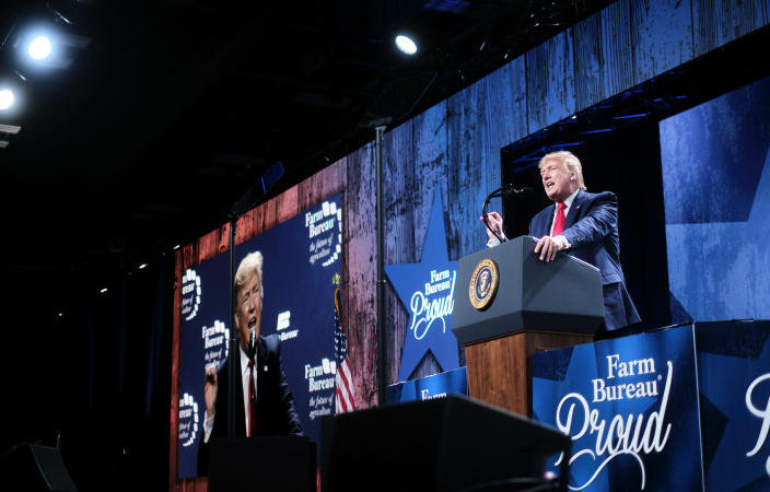 President Donald Trump speaks at the American Farm Bureau Federation's convention in Austin, Texas, Jan. 19, 2020. (T.J. Kirkpatrick/The New York Times)