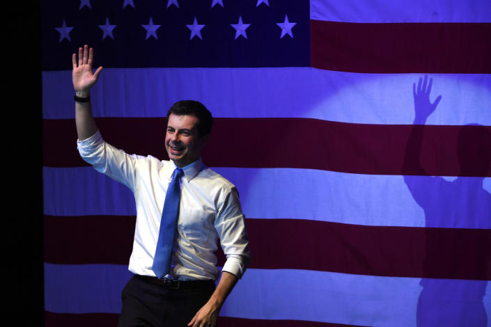 Presidential candidate Pete Buttigieg during a recent rally in Denver. (Photo by Helen H. Richardson/MediaNews Group/The Denver Post via Getty Images)