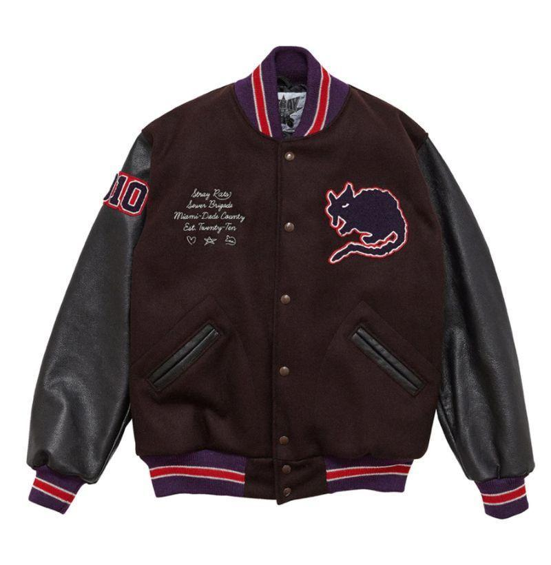 "<p><strong>Stray Rats</strong></p><p>strayrats.com</p><p><strong>$378.00</strong></p><p><a href=""https://store.strayrats.com/products/10-yr-varsity-jacket?variant=32794517012526"" rel=""nofollow noopener"" target=""_blank"" data-ylk=""slk:Buy"" class=""link rapid-noclick-resp"">Buy</a></p>"