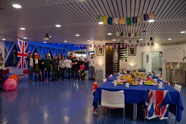 The dining hall of the Halley station decked out to celebrate the Queen's Jubilee with a 'mad hatter's' tea.