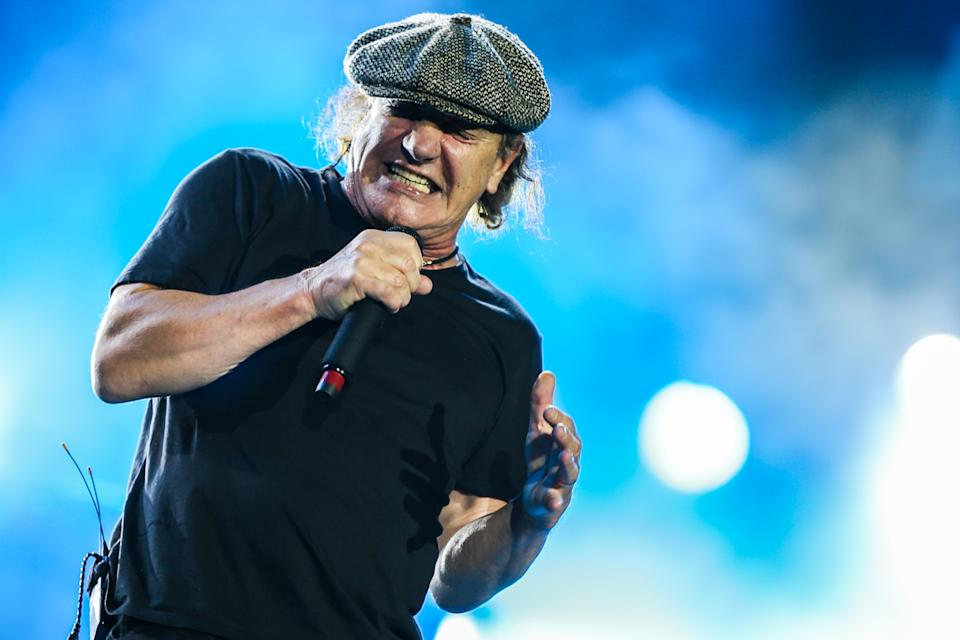 Brian Johnson of AC/DC performs during the final U.S. stop of their Rock Or Bust Tour at Dodger Stadium on Monday, Sept. 28, 2015, in Los Angeles. (Photo by Rich Fury/Invision/AP)
