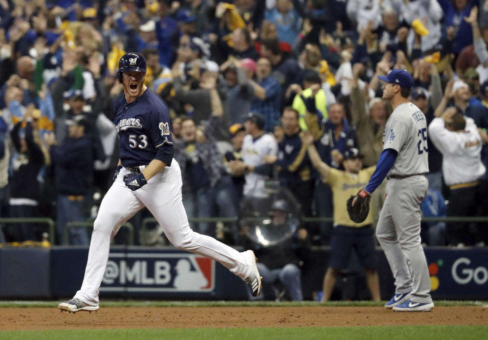 Milwaukee Brewers reliever Brandon Woodruff (53) celebrates after hitting a home run off Clayton Kershaw in NLCS Game 1 vs. the Los Angeles Dodgers. (AP)