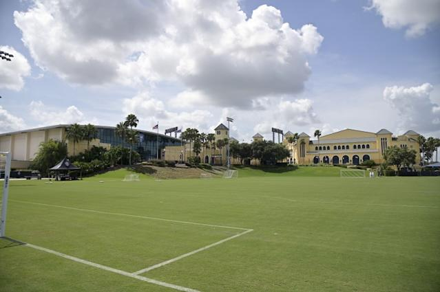 """A soccer field at the ESPN Wide World of Sports complex, where the MLS Is Back tournament is being held. <span class=""""copyright"""">(Phelan M. Ebenhack / Associated Press)</span>"""