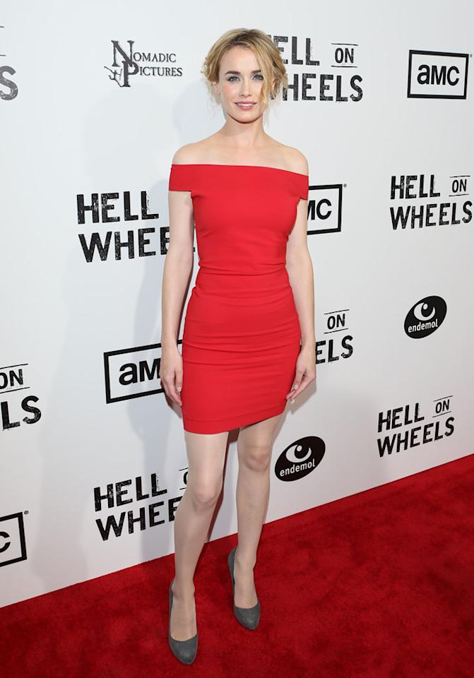 "Dominique McElligott attends AMC's ""Hell On Wheels"" Season 2 Premiere at The Paley Center for Media on July 30, 2012 in Beverly Hills, California."