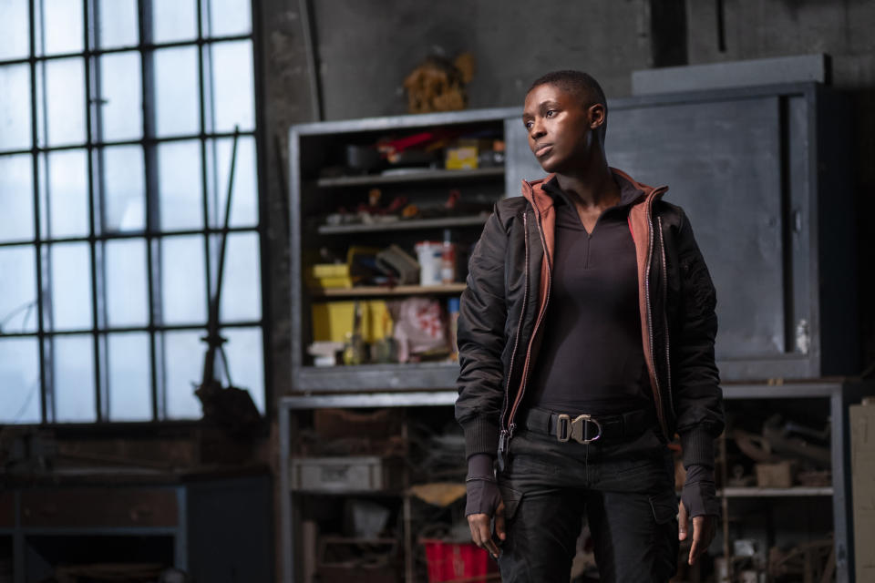 "This image released by Amazon shows Jodie Turner-Smith in a scene from ""Tom Clancy's Without Remorse."" (Nadja Klier/Amazon via AP)"