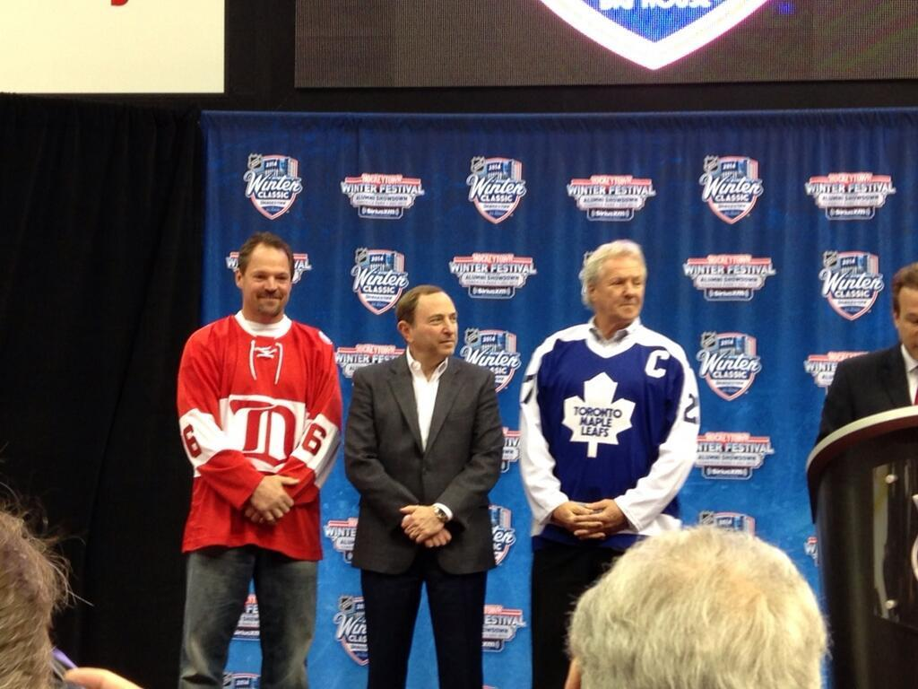 Joe Kocur (left), Gary Bettman and Darryl Sittler (right) show off the NHL Alumni jerseys (Photo by Nick Cotsonika @cotsonika)