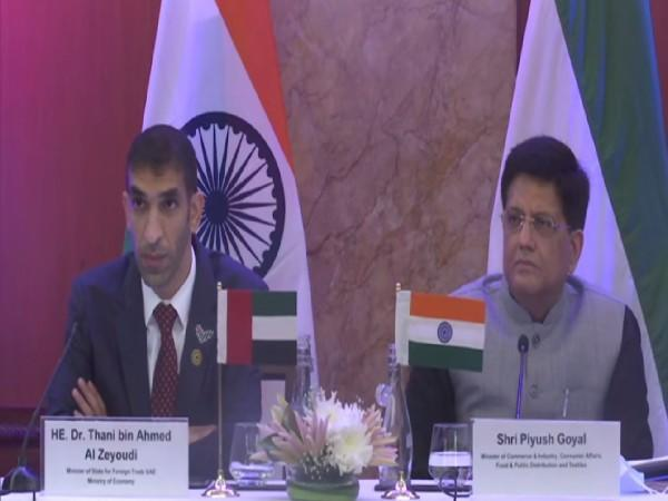 Union Minister for Trade and Commerce Piyush Goyal with UAE Minister of State for Foreign Trade Dr Thani Ahmed Al Zeyoudi