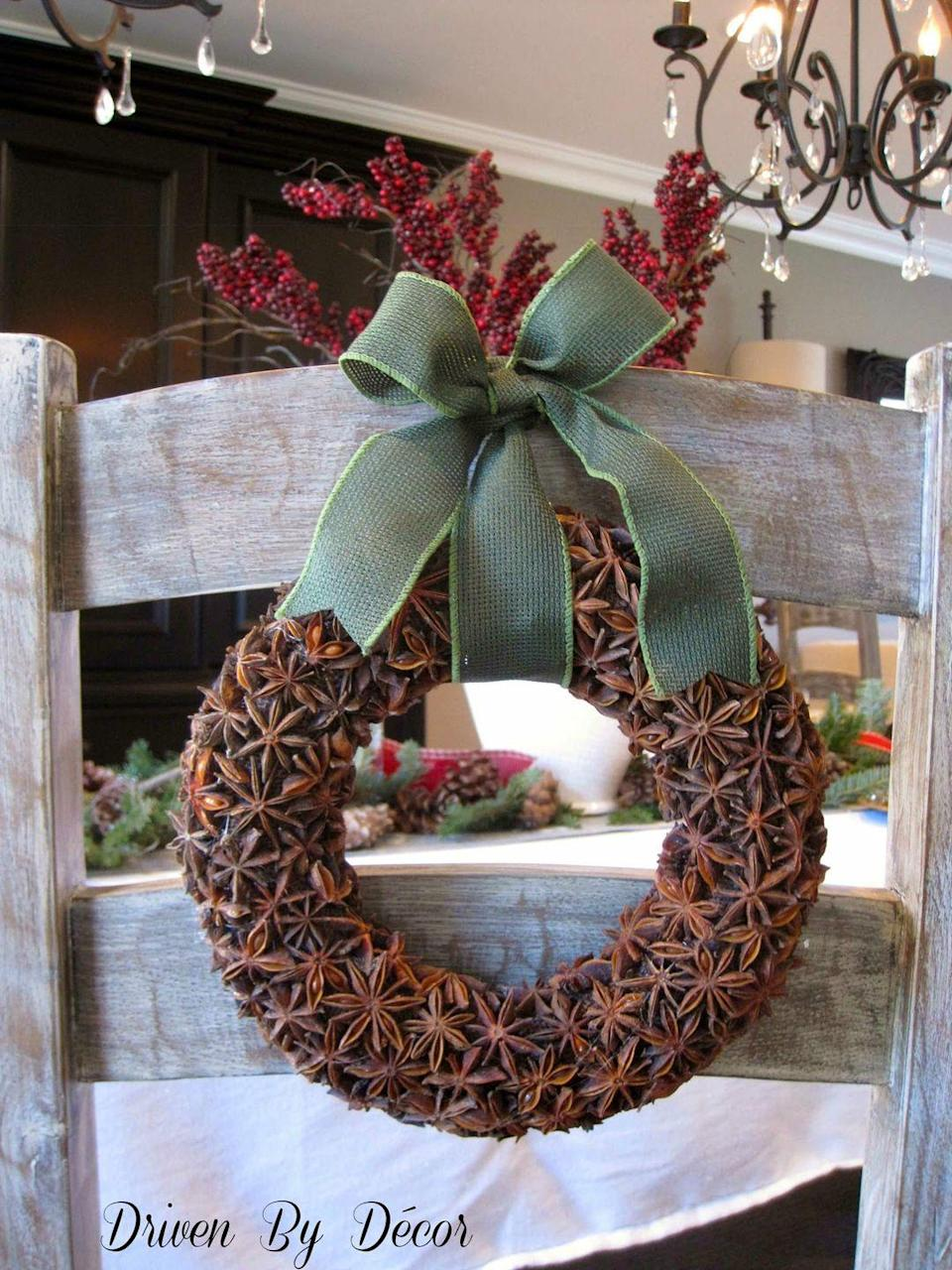 "<p>Recreate this sweet smelling wreath with star anise. </p><p>See more at <a href=""http://www.drivenbydecor.com/2012/12/holiday-decorating-diy-star-anise.html"" rel=""nofollow noopener"" target=""_blank"" data-ylk=""slk:Driven By Decor"" class=""link rapid-noclick-resp"">Driven By Decor</a>. </p>"