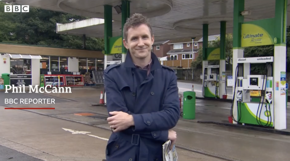 BBC reporter Phil McCann is pictured.