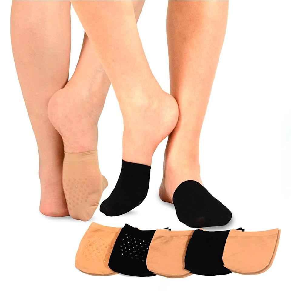"""No-slip half-liners? Where have you been all our lives? These semi-sheer nylon socks are perfect for those leather mules your feet always sweat in. The non-slip grip keeps them firmly put, and for $2 a pop, they're a total steal. $10, Amazon. <a href=""""https://www.amazon.com/dp/B018858B9K"""" rel=""""nofollow noopener"""" target=""""_blank"""" data-ylk=""""slk:Get it now!"""" class=""""link rapid-noclick-resp"""">Get it now!</a>"""