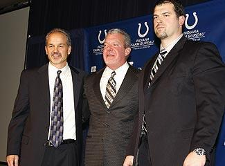 The new Colts regime features head coach Chuck Pagano, left, and GM Ryan Grigson, far right