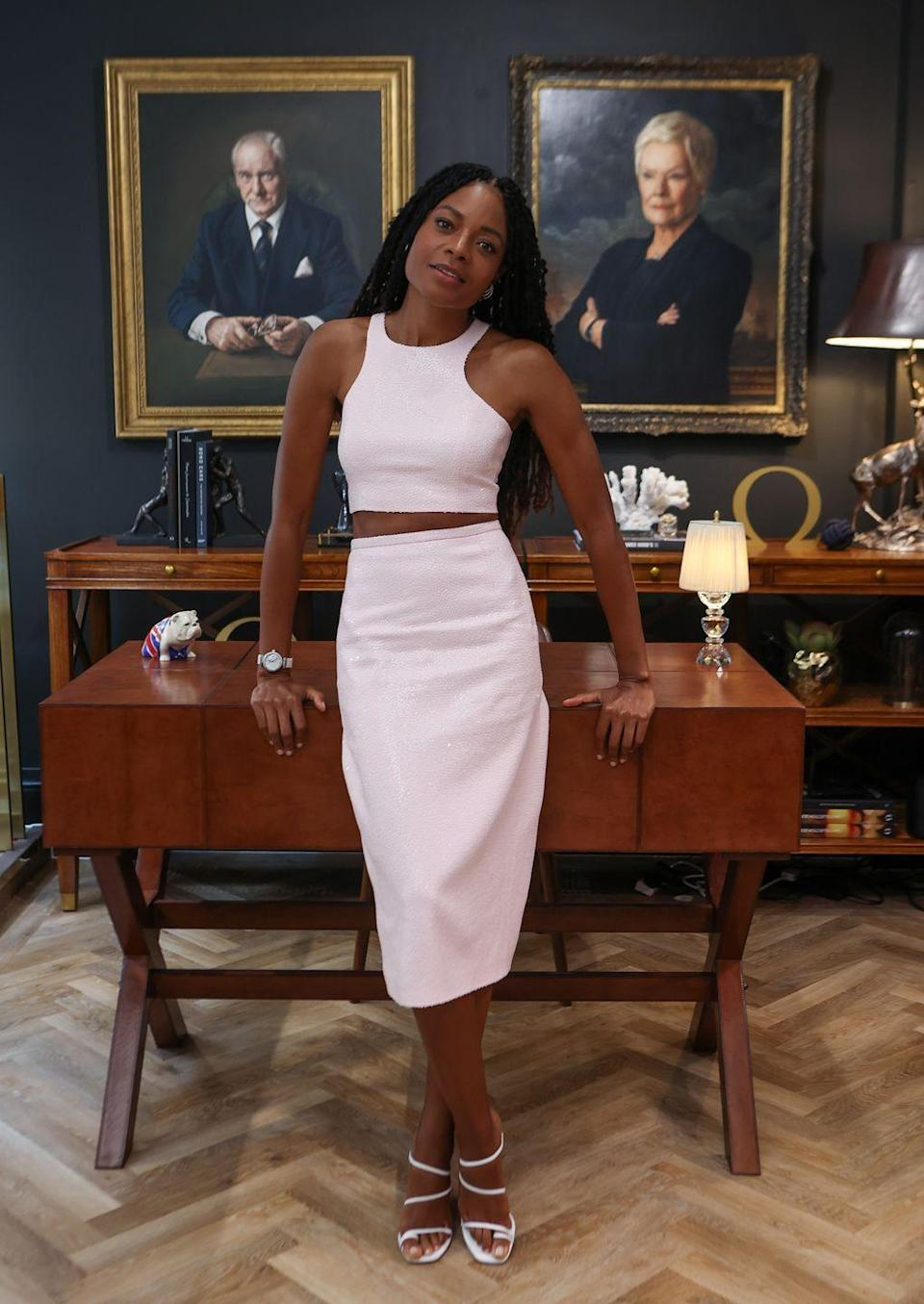 <p><strong>28 September</strong></p><p>Ahead of the world premiere of No Time To Die, Naomie Harris visited Omega's Bond House in Burlington Arcade wearing a white Michael Kors two-piece with strappy sandals and an Omega watch. The actress later hosted a lunch with the luxury watch brand at Scott's in Mayfair.</p>