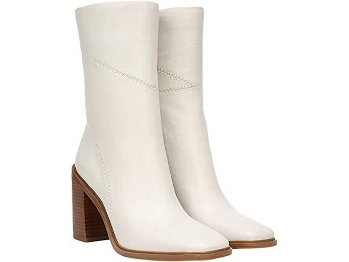 white boots, ankle boots, square toe boots, franco sarto