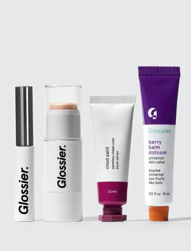 """Get glossy with this four-piece Glossier set. It includes the brand's best-selling Boy Brow pomade, cult-favorite Cloud Paint blush,Haloscope highlighter andBalm Dotcom lip salve. You get to choose theshades and flavors in this set.<a href=""""https://fave.co/2Lb1Tsb"""" target=""""_blank"""" rel=""""noopener noreferrer"""">Find it for $54 at Glossier</a>."""
