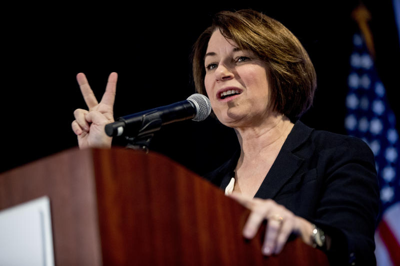 Democratic presidential candidate Sen. Amy Klobuchar, D-Minn., speaks at the Iowa State Education Association Candidate Forum at the Sheraton West Des Moines Hotel, Saturday, Jan. 18, 2020, in West Des Moines, Iowa. (AP Photo/Andrew Harnik)