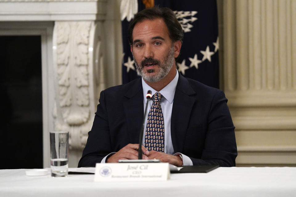 Jose Cil, CEO of Restaurant Brands International, speaks during a meeting with restaurant industry executives about the coronavirus response, in the State Dining Room of the White House, Monday, May 18, 2020, in Washington. (AP Photo/Evan Vucci)