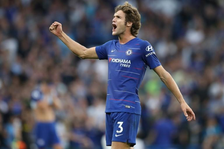 Winner: Marcos Alonso scored the decisive goal as Chelsea beat Arsenal 3-2