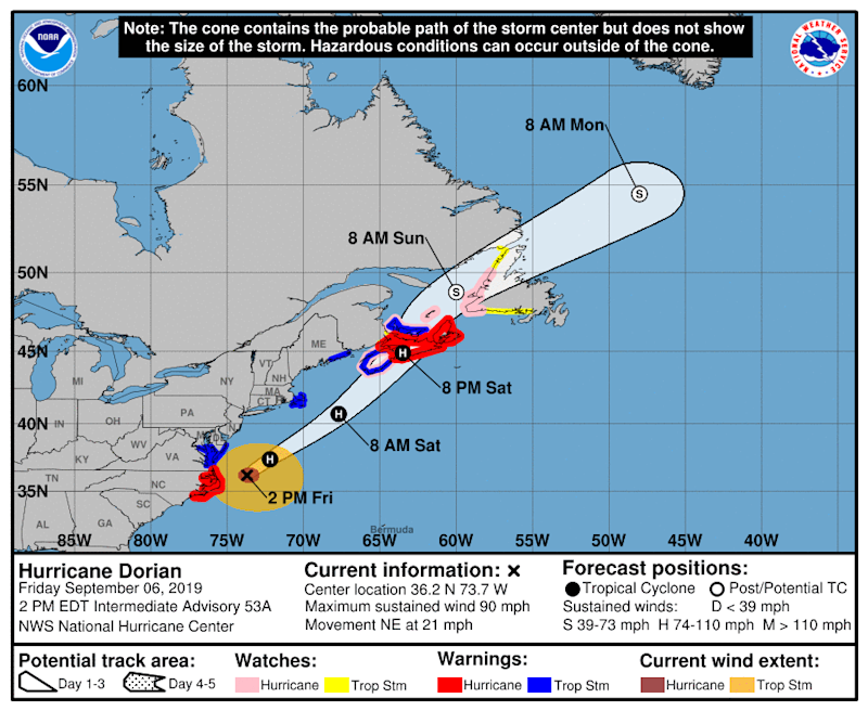 This map from the National Hurricane Center shows Hurricane Dorian's path as of 2 p.m. Friday, Sept. 6, 2019 | National Hurricane Center
