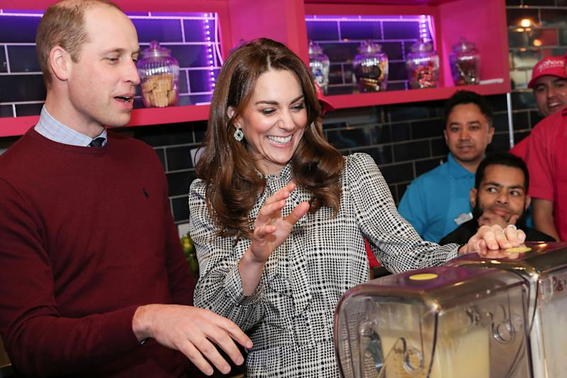 The Duke and Duchess shared a laugh while making glasses of Kulfi lassi at at British-Asian restaurant in Bradford. Photo: Getty Images.