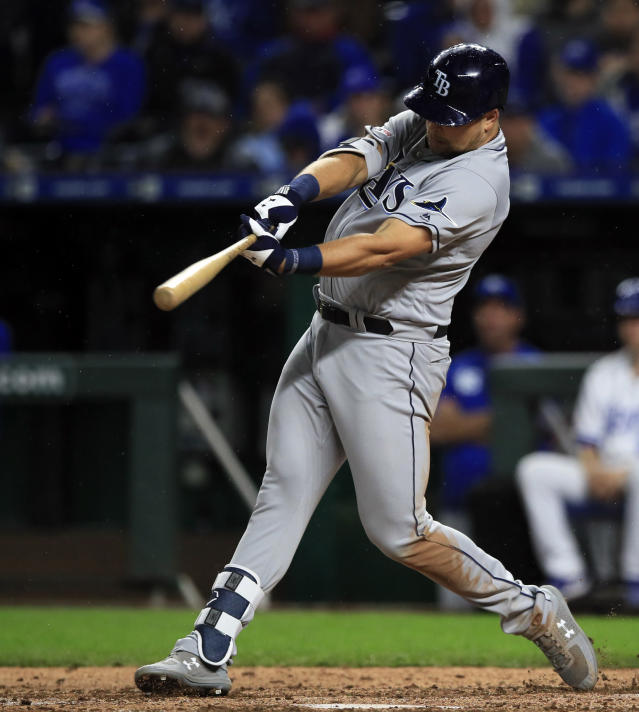 Tampa Bay Rays designated hitter Nate Lowe hits a double during the eighth inning of a baseball game against the Kansas City Royals at Kauffman Stadium in Kansas City, Mo., Monday, April 29, 2019. It was Lowe's first hit in the major leagues. (AP Photo/Orlin Wagner)