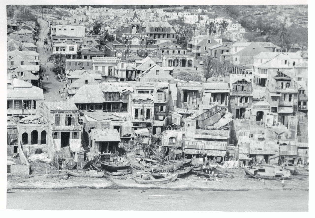 <p>Hundreds of houses remained wrecked skeletons after the 185-kilometre-per-hour winds of Hurricane Hazel slashed across Jeremie, on the north coast of Haiti's south peninsula on Oct. 13 1954. The death toll as of that day was in the hundreds. The hurricane threatened to strike the eastern seaboard states of the U.S. on Oct. 15. (Photo from Getty Images) </p>