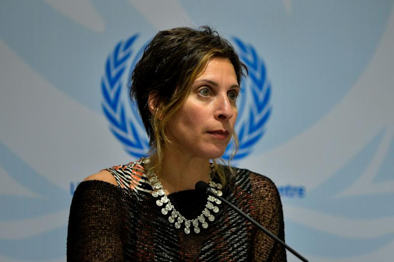 United Nations Special Rapporteur on the Right to Adequate Housing Leilani Farha attends a press conference in New Delhi on April 22, 2016. / AFP / CHANDAN KHANNA (Photo credit should read CHANDAN KHANNA/AFP via Getty Images)