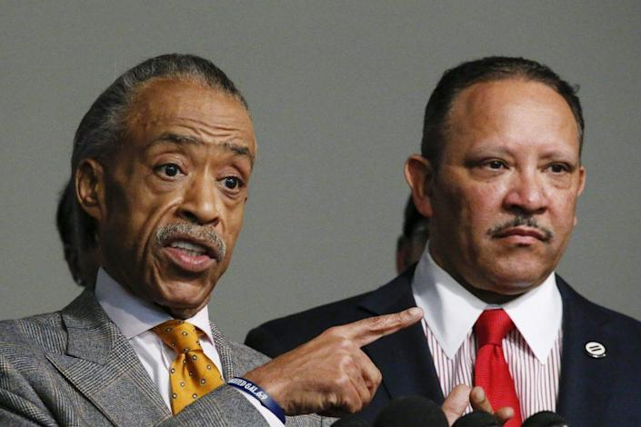 Rev. Al Sharpton speaks next to Marc Haydel Morial, President & CEO of the National Urban League. (Photo by Kena Betancur/Getty Images)