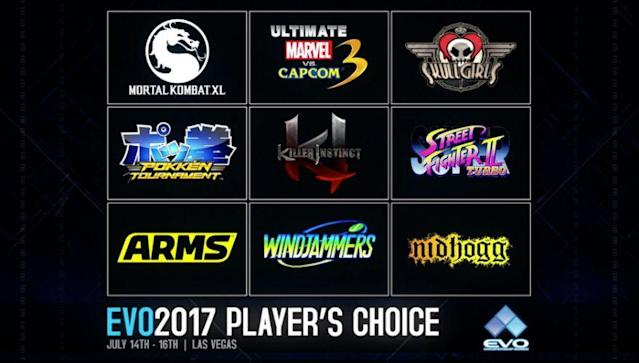 Players could donate to vote for their game of choice. (Evo)