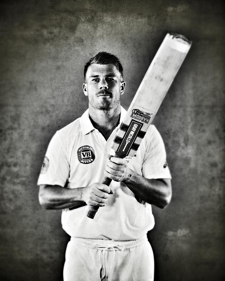 WORCESTER, ENGLAND - JULY 01:  (EDITORS NOTE: This image was processed using digital filters) David Warner of Australia poses on July 1, 2013 in Worcester, England.  (Photo by Ryan Pierse/Getty Images)