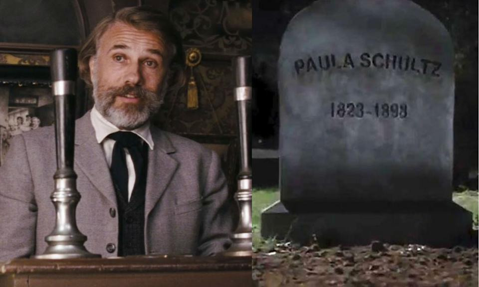 Django Unchained features Dr. Schultz whose wife's grave appears in Kill Bill: Volume 2