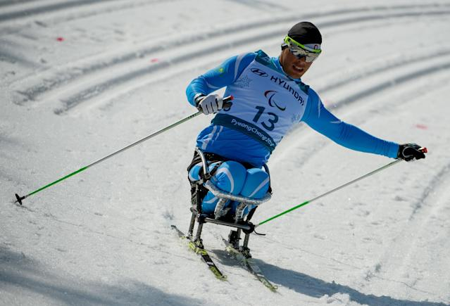 Denis Petrenko KAZ competes in the Cross-Country Skiing Sitting Men's 1.1km Sprint at the Alpensia Biathlon Centre. The Paralympic Winter Games, PyeongChang, South Korea, Wednesday 14th March 2018. OIS/IOC/Thomas Lovelock/Handout via REUTERS