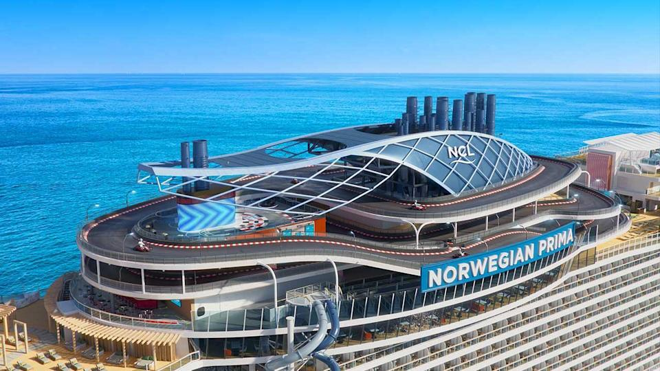 Norwegian Prima will feature the brand-exclusive racetrack experience at sea. The Prima Speedway will be the largest and first ever three-level racetrack, spanning a quarter mile in length (1,378 feet/ 402 meters), wrapping around the ship's funnel and featuring 14 nail-biting turns.