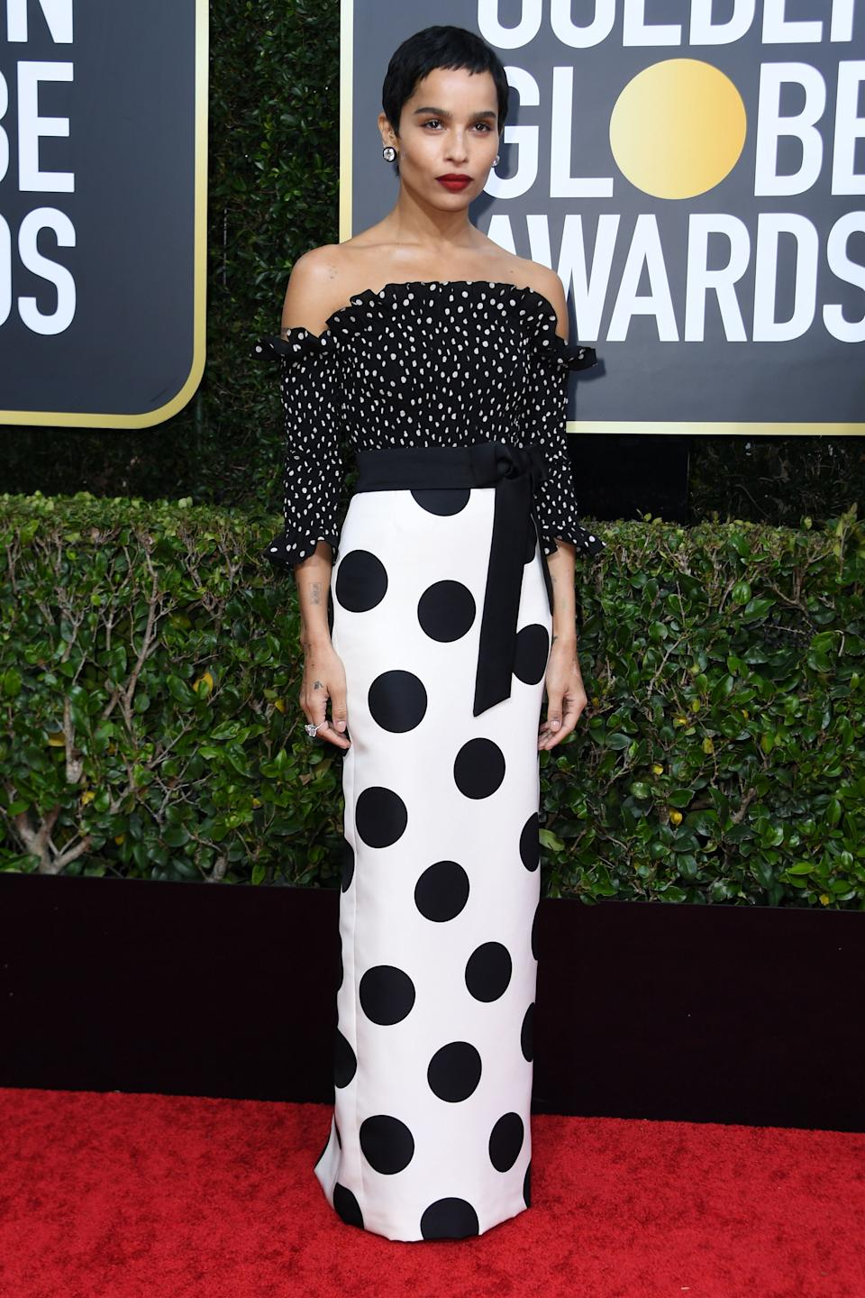 "The ""Big Little Lies"" star opted for a bold polka-dotted look by YSL. (Photo by VALERIE MACON/AFP via Getty Images)"