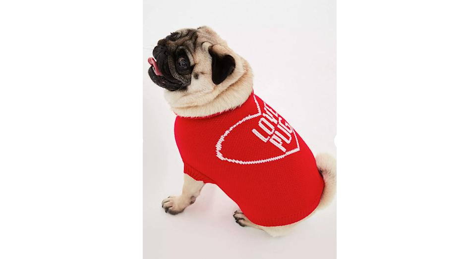 Red Love Pug Dog Jumper