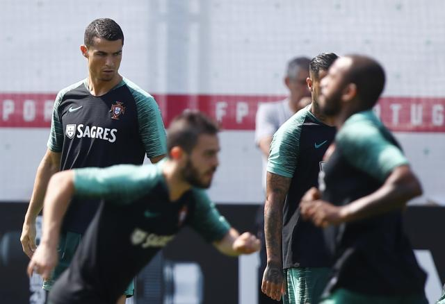 Soccer Football - World Cup - Portugal Training - Kratovo, Moscow Region, Russia - June 23, 2018. Cristiano Ronaldo and his teammates attend a training session. REUTERS/Axel Schmidt