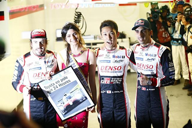 The #8 Toyota TS050 HYBRID of Kazuki Nakajima, Sebastien Buemi and Fernando Alonso will start the Le Mans 24 Hours from pole as the manufacturer locked out the front row