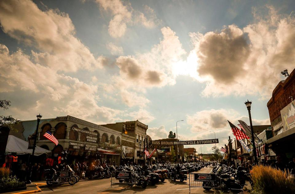 Motorcycles line Main Street in Sturgis, S.D., in August 2019, during the 79th edition of the Sturgis Motorcycle Rally.