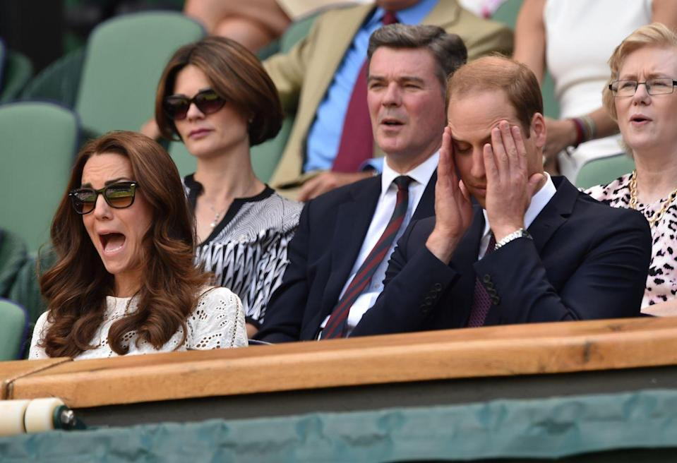 """<p>Uh oh, something didn't go the <a href=""""https://www.goodhousekeeping.com/life/a22118509/kate-middleton-prince-william-buckingham-palace-moment/"""" rel=""""nofollow noopener"""" target=""""_blank"""" data-ylk=""""slk:Duke and Duchess of Cambridge"""" class=""""link rapid-noclick-resp"""">Duke and Duchess of Cambridge</a>'s way. During the match of Simona Halep vs. Sabine Lisicki in 2014, both Will and Kate looked completely disheartened at what was unfolding in front of them. Whoever they were rooting for must've lost a key point. That, or the couple was just feeling a tad dramatic that day. </p>"""