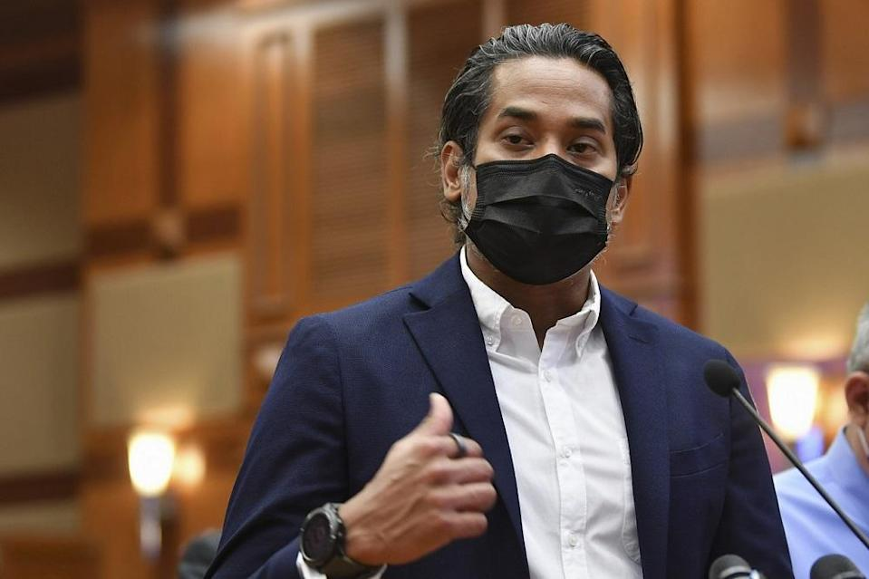 Khairy Jamaluddin during a press conference following a simulation exercise for the National Covid-19 Immunisation Programme, in Putrajaya February 23, 2021. — Bernama pic