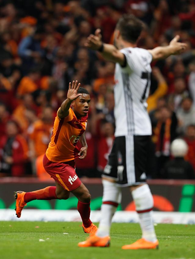 Soccer Football - Turkish Super League - Galatasaray v Besiktas - Turk Telekom Arena, Istanbul, Turkey - April 29, 2018 Galatasaray's Garry Rodrigues celebrates scoring their second goal REUTERS/Murad Sezer