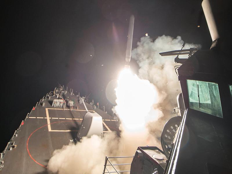 U.S. Navy guided-missile destroyer USS Ross (DDG 71) fires a tomahawk
