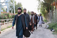 Taliban prisoners are released from Pul-e-Charkhi jail in Kabul, Afghanistan, Thursday, Aug. 13, 2020. Afghanistan released the first 80 of a final 400 Taliban prisoners, paving the way for negotiations between the warring sides in Afghanistan's protracted conflict, the government said Friday, Aug. 14, 2020. (Afghanistan's National Security Council via AP)