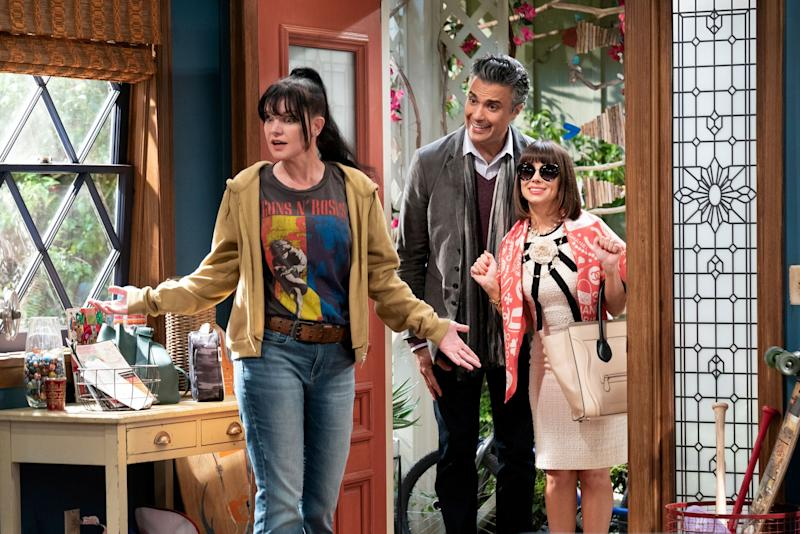 """Pilot"" -- When an outrageously wealthy trust fund baby is cut off by his father, he and his wife move into her estranged sister's Reseda home, forcing the two siblings to reconnect. Pictured: Pauley Perrette, Jaime Camil, Natasha Leggero. Photo: Sonja Flemming/CBS ©2019 CBS Broadcasting, Inc. All Rights Reserved"