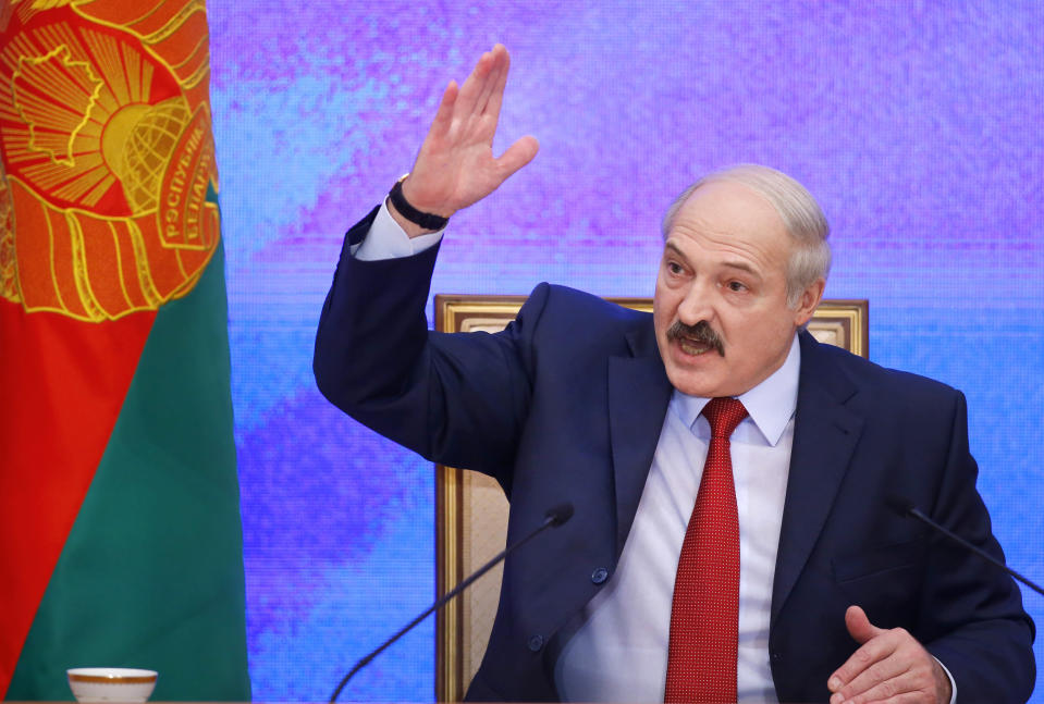 FILE - In this Jan. 29, 2015, file photo, Belarusian President Alexander Lukashenko speaks during a news conference in Minsk, Belarus. When Lukashenko became president in 1994, Belarus was an obscure country that had not even existed for three years. Over the next quarter-century, he brought it to the world's notice via dramatic repression, erratic behavior and colorful threats. (Pool Photo via AP, File)