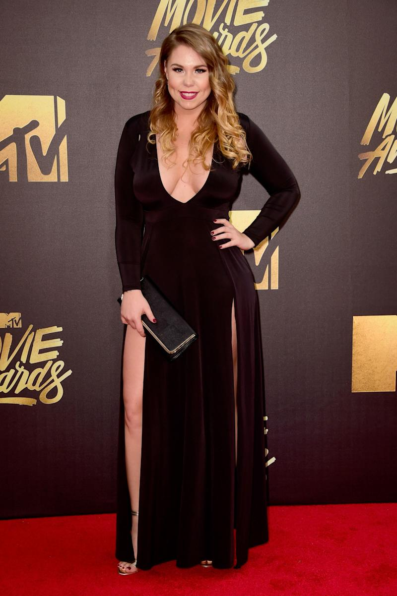 Kailyn Lowry looks stunning in this long black dress with side slits