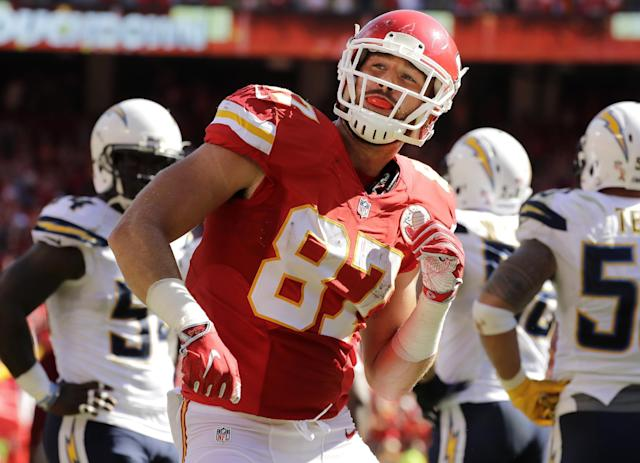 Travis Kelce of the Kansas City Chiefs celebrates a play. (AP)