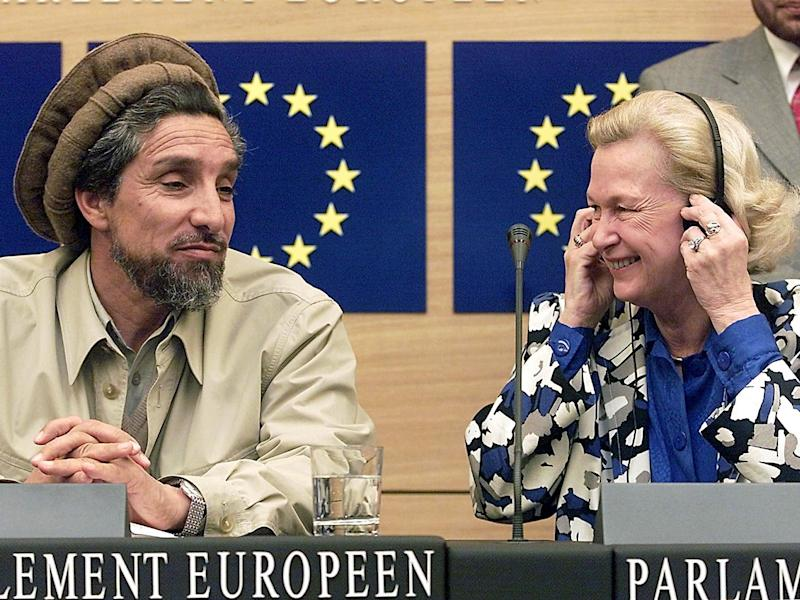 In 2001 Nicole Fontaine invited renowned Afghan Mujahideen leader Ahmad Shah Massoud to address the parliament: Getty