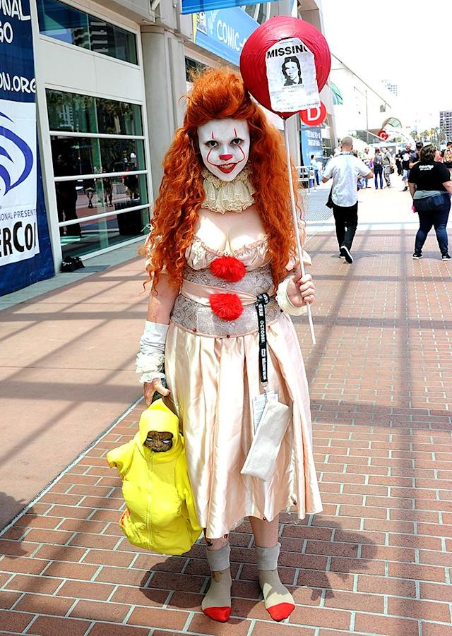 <p>A cosplayer clowns around at Comic-Con International on July 18, 2018, in San Diego. (Photo: Albert L. Ortega/Getty Images) </p>