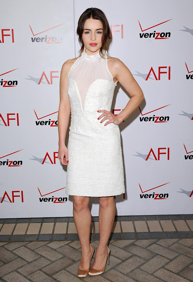 Emilia Clarke arrives at the 2011 AFI Awards Luncheon at Four Seasons Hotel Los Angeles at Beverly Hills on January 13, 2012 in Beverly Hills, California.