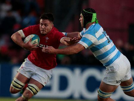 Rugby Union - June Internationals - Argentina v Wales - Brigadier General Estanislao Lopez Stadium, Santa Fe, Argentina - June 16, 2018 - Wales' Ellis Jenkins is tackled by Argentina's Matias Alemanno. REUTERS/Diego Lima